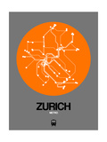 Zurich Orange Subway Map Prints by  NaxArt
