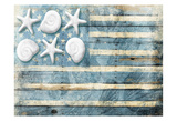 Water Blue American Flag Prints