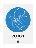 Zurich Blue Subway Map Posters by  NaxArt