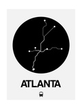 Atlanta Black Subway Map Art by  NaxArt