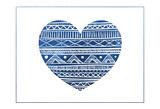 Indigo Tribal Heart Prints