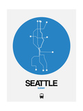 Seattle Blue Subway Map Posters by  NaxArt