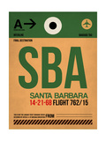 SBA Santa Barbara Luggage Tag I Print by  NaxArt