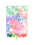 Warsaw Watercolor Street Map Prints by  NaxArt