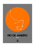 Rio De Janeiro Orange Subway Map Prints by  NaxArt