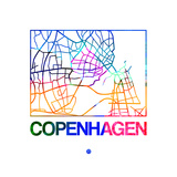 Copenhagen Watercolor Street Map Posters by  NaxArt