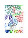 New York Watercolor Street Map Prints by  NaxArt