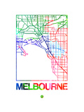Melbourne Watercolor Street Map Art by  NaxArt