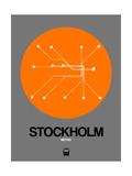 Stockholm Orange Subway Map Prints by  NaxArt