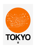 Tokyo Orange Subway Map Art by  NaxArt