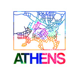Athens Watercolor Street Map Prints by  NaxArt