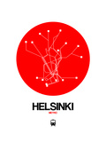Helsinki Red Subway Map Prints by  NaxArt
