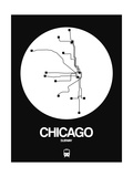 Chicago White Subway Map Prints by  NaxArt