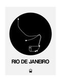 Rio De Janeiro Black Subway Map Art by  NaxArt