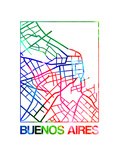 Buenos Aires Watercolor Street Map Poster by  NaxArt