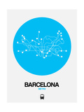 Barcelona Blue Subway Map Prints by  NaxArt