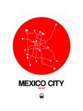 Mexico City Red Subway Map Prints by  NaxArt