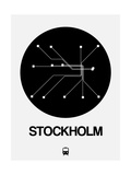 Stockholm Black Subway Map Art by  NaxArt