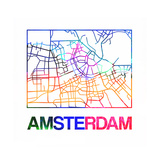 Amsterdam Watercolor Street Map Premium Giclee Print by  NaxArt