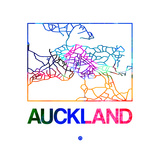 Auckland Watercolor Street Map Plakat af NaxArt