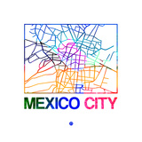Mexico City Watercolor Street Map Art by  NaxArt