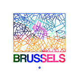 Brussels Watercolor Street Map Premium Giclee Print by  NaxArt