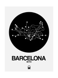 Barcelona Black Subway Map Print by  NaxArt