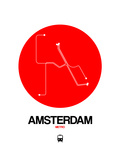 Amsterdam White Subway Map Posters by  NaxArt