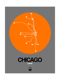Chicago Orange Subway Map Poster by  NaxArt