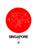 Singapore Red Subway Map Posters by  NaxArt