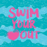 Swim Your Heart Out - Teal Pink Prints by  Sports Mania