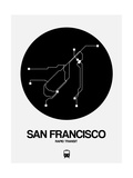 San Francisco Black Subway Map Art by  NaxArt