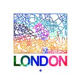 London Watercolor Street Map Premium Giclee Print by  NaxArt