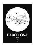 Barcelona White Subway Map Prints by  NaxArt