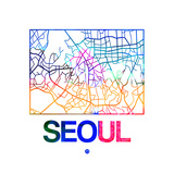Seoul Watercolor Street Map Posters by  NaxArt