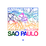 Sao Paulo Watercolor Street Map Prints by  NaxArt
