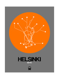 Helsinki Orange Subway Map Poster by  NaxArt