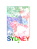 Sydney Watercolor Street Map Posters by  NaxArt