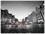 Red BikeOn Cobble Stone Street Plakater af M. Bednarek