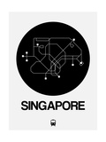 Singapore Black Subway Map Art by  NaxArt