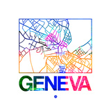 Geneva Watercolor Street Map Art by  NaxArt