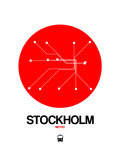Stockholm Red Subway Map Posters by  NaxArt