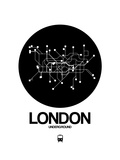 London Black Subway Map Poster von  NaxArt