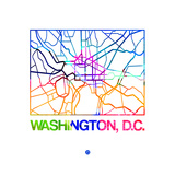 Washington D.C. Watercolor Street Map Premium Giclee Print by  NaxArt