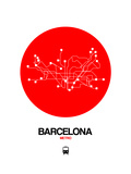 Barcelona Red Subway Map Prints by  NaxArt