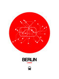 Berlin Red Subway Map Gicléetryck på högkvalitetspapper av  NaxArt