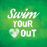 Swim Your Heart Out - Green Vintage Prints by  Sports Mania