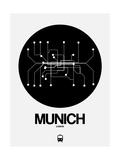 Munich Black Subway Map Print by  NaxArt