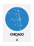 Chicago Blue Subway Map Prints by  NaxArt