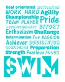 Swimming Word Cloud - Teal Prints by  Sports Mania
